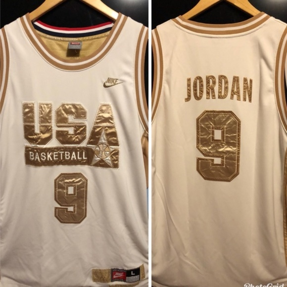 sports shoes b817f ba493 Nike Michael Jordan gold edition olympic jersey